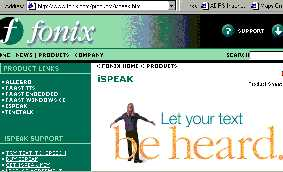 Screen shot of Fonix Web Site
