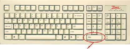 Z Tab keboard with extra large tab key below arrow keys
